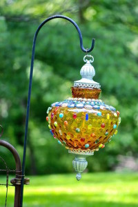 colorful glass garden ornament