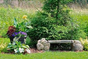 stone rabbit garden bench