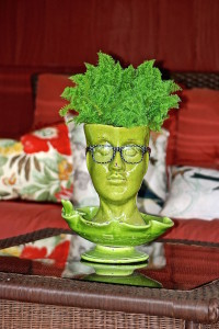man head planter green
