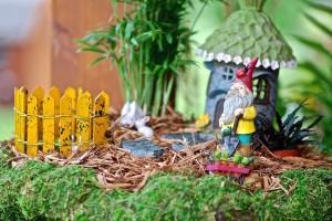 tiny gnome garden display