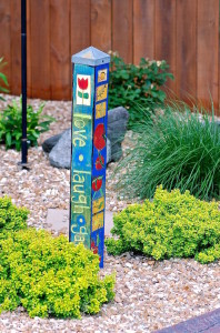 garden sign painted vibrant multi colors