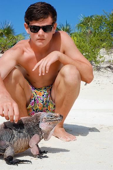 Conrad with iguanas exuma